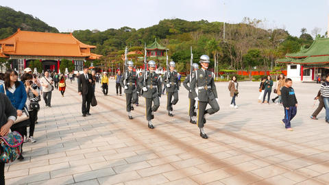 Full dress soldiers march during change ceremony, Taipei Martyr's Shrine Footage