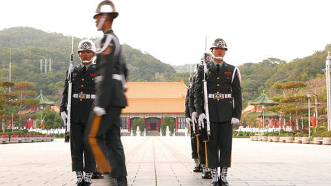 Military police officers, honour guard change at Martyr's Shrine, Taipei Footage