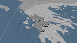Dytiki Ellada - Greece region extruded. Bumps Animation