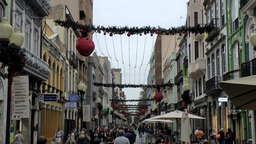 Spain Gran Canary Las Palmas city 021 Calle Triana christmas decoration Footage