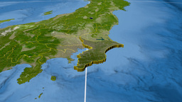 Chiba - Japan prefecture extruded. Satellite Animation