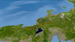Fukui - Japan prefecture extruded. Satellite Animation