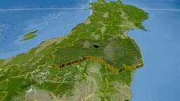 Fukushima - Japan prefecture extruded. Satellite Animation