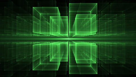 Green Cubes Rotating in Perspective Animation
