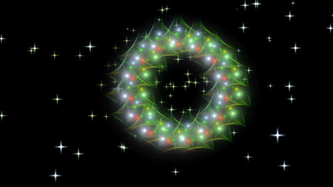Radiant Christmas wreath, red, green, white and golden with twinkling stars Animation