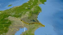 Ibaraki - Japan prefecture extruded. Satellite Animation