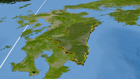 Miyazaki - Japan prefecture extruded. Satellite Animation