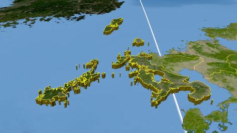 Naoasaki - Japan prefecture extruded. Satellite Animation