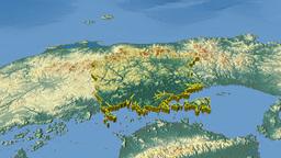 Okayama - Japan prefecture extruded. Bumps shaded Animation