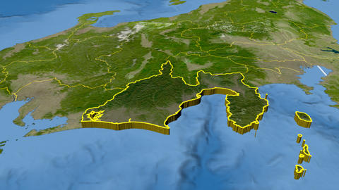 Shizuoka - Japan prefecture extruded. Satellite Animation