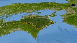 Tokushima - Japan prefecture extruded. Satellite Animation