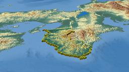 Wakayama - Japan prefecture extruded. Bumps shaded Animation
