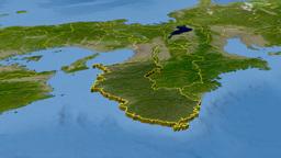 Wakayama - Japan prefecture extruded. Satellite Animation